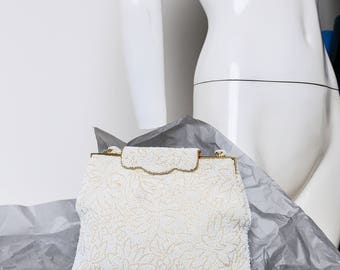 White Wedding Purse | Beaded Purse | Large Beaded Purse | Embroidered Purse | Bridesmaid Purse | White and Gold Purse | Wedding Accessories