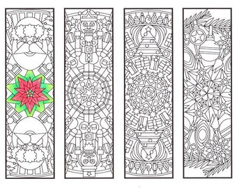 Christmas Coloring Bookmarks - Christmas Mandalas - coloring for adults, big kids and your resident bookworm - adult coloring page