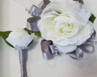 Ivory and Silver Wrist Corsage Prom Corsage and Matching Boutonniere