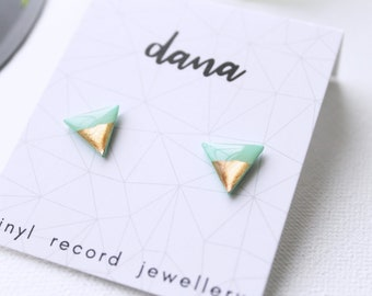 triangle studs mint and rose gold studs minimal stud earrings surgical steel studs everyday studs simple stud earrings resin jewelry
