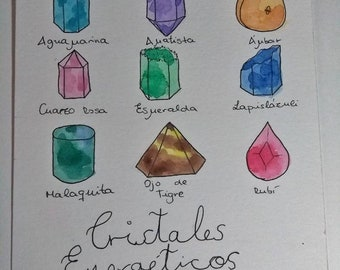 Print illustration energetic crystals/gemstones.