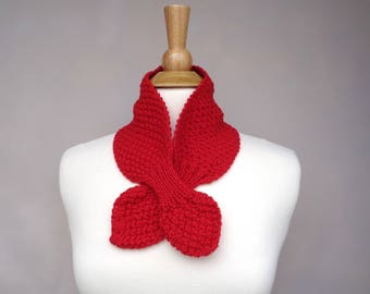 Bright Red Ascot Scarf, Pull Through Keyhole, Soft Wool, Small Neck Scarf, Hand Knit Neck Warmer
