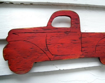 Retro Red Pickup Wooden Red Truck Boys Room Wall Sign Kids Wall Decor Vintage Truck Wall Art Red Pickup Sign