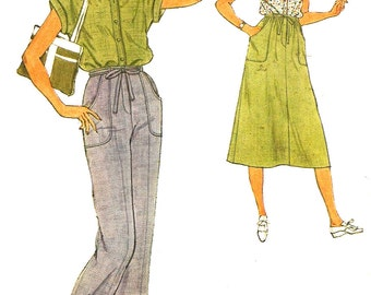 1970s Skirt Pattern Gathered Pants Blouse Simplicity Sewing Vintage Women's Misses Size 12 Bust 34 Inches