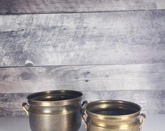 Set of 2 Vintage brass footed pots   brass planter
