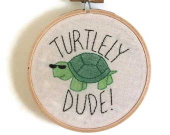 Turtley dude embroidery, turtle embroidery, embroidered wall art, embroidery hoop art, hoop art