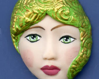 Polymer Clay One of a Kind   Detailed Face Cab with texture Un Drilled GMD 1