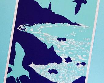 Start Point - A3 poster - Devon coastal scene - Devon gift - Coast - Lighthouse art - Striking wall art - Graphic colourful art - Poster art