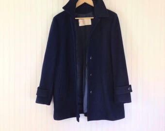 Pendleton 100% Virgin Wool Pea Coat Vintage Navy Blue Womens L *Imperfect* Made in Portland, OR