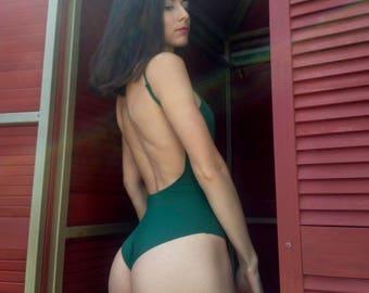 One piece swimsuit / bathing suit / dark green swimsuit open back / retro swimsuit women swimwear