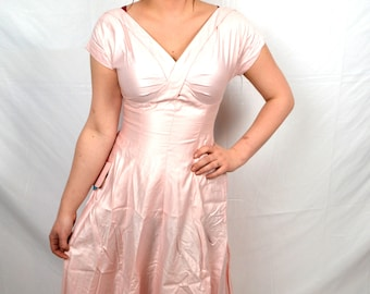 Vintage 1950s Leslie Fay Pink Deadstock Cotton Dress