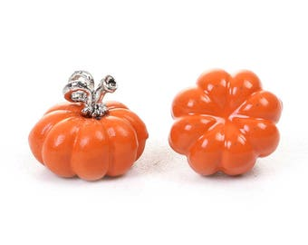 5 PUMPKIN Charms, Fall Pumpkin Charms, Halloween Charms, Petite Enamel Halloween Pumpkin Charms, 11x10mm, chs3330