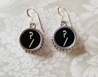 """Vintage Typewriter Key Earrings--""""?"""" and """"/""""---Question Mark and Forward Slash"""