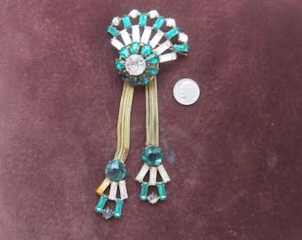 "RARE Adele Simpson huge brooch signed rhinestones emerald green  fantastic 6"" huge"