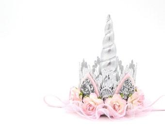 Unicorn flower lace crown headband || silver + pink +ivory || Unicrown