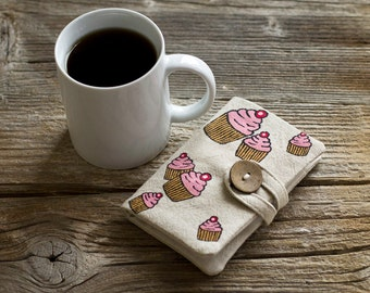 Linen and Cotton Tea Wallet with Hand Painted Cupcakes, Tea Holder, Gift for Tea Lover