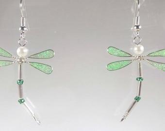 Neon green glitter Dragonfly earrings