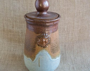 copper & sky blue handmade ceramic covered jar