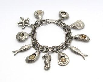 Seashell Charm Bracelet | Beach Theme Jewelry | Starfish Bracelet | Sea Life Jewelry | Seahorse Bracelet | Ocean Life Jewelry