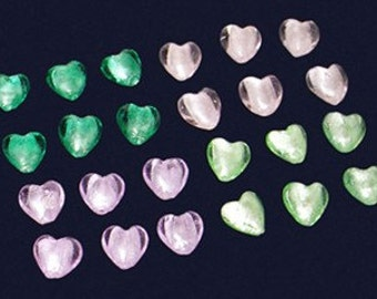 8pc - 14mm Iridescent 4 COLOR MIX  Pink Green Purple Lampwork Glass Heart Spacer Beads