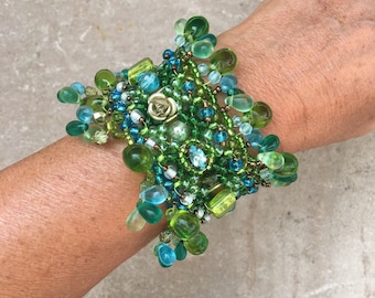 Green and blue Cuff Bracelet with glass pendants