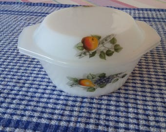 Vintage Milk Glass Bowl with Cover