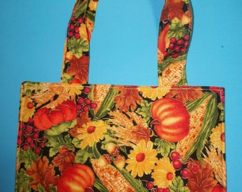 Festive Fall Pattern Purse/Tote Pumpkins, Corn, Flowers