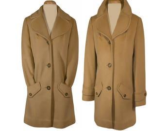 Women's Coat, Overcoat, Wool Coat, Vintage Coat, Winter Coat, Camel Coat, Pendleton Coat- Retro, Vintage, Business, Prep, Women's Outerwear