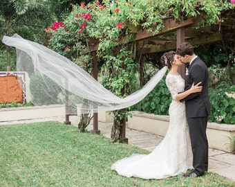Cathedral Wedding Veil with Pencil Edge, 120 inches long - Ships in 3 - 5 Business Days