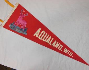 Vintage Felt 27 inch Souvenir Pennant, Aqualand Wisconsin, Felt Pennant