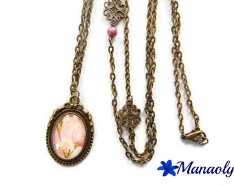 Vintage bronze pendant 407 pink flower cabochon necklace