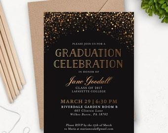 College Graduation Einladung Vorlage / Grad Party lädt / Graduation Ankündigung / Graduation Party Einladungen zum ausdrucken