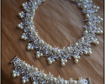 Set jewelry Ivory necklace Beaded necklace Beige necklace Elegant necklace Beautiful beaded necklace Cream necklace Pearl necklace