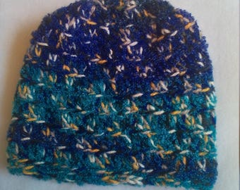 half price skull hat in shades of blue