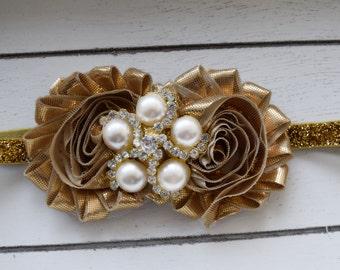 Hand Crafted Gold Headband - Gold Christmas Headband - Gold Holiday Headband - Gold Baby Headband - Gold Newborn Headband - Infant Headband