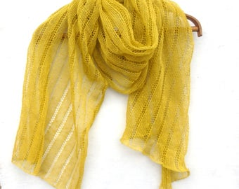 knit linen shawl, knitted lace summer scarf, knitting natural linen wrap, yellow wrap, women men scarf, stole,  fax scarf