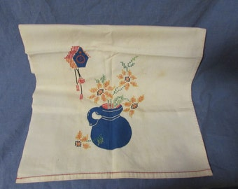 Dish/Hand Towel, Hand Appliqued, Hand Stitched, 1950's