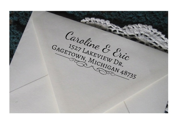 custom address stamp wedding gift rubber stamp with a