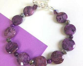 Purple Crazy Lace Agate Bracelet, Purple Bracelet, Gift for her, Gemstone Bracelet, hostess gift, teacher appreciation, teacher gift