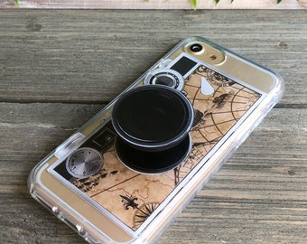 Vintage Camera Phone Case with Pop Up Grip and Stand for iPhone 6, 6 Plus, 7, 7Plus, 8, 8 Plus and X