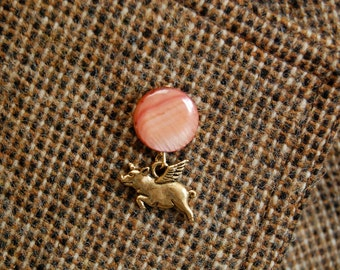 Flying Pig Tie Tack, Pig with Wings Lapel Pin, Your Choice Brown, Cream OR Salmon, Pigasus Pin, When Pigs Fly Tie Tac, Whimsical Pin