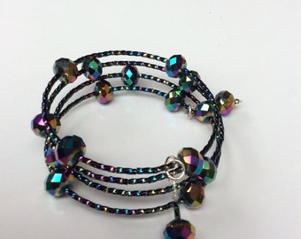Memory wire bracelet, Cuff bracelet, Tiered bracelet, Layered bracelet, Multicoloured, Sparkling bracelet, Crystal bracelet, Wedding,