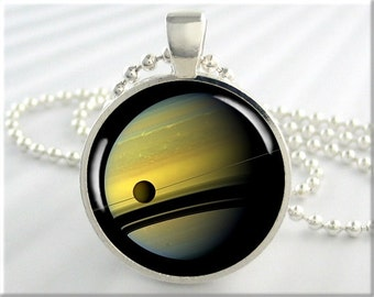 Saturn Photo Pendant, Space Necklace, Cassini Saturn Photo Pendant, Saturn With Moon Titan Resin Charm, Space Gift, Round Silver (445RS)