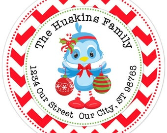 CUSTOM Holiday Address Labels, Cute Bluebird Stickers, Christmas Address Stickers - 2.5 inch round