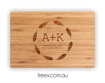 Personalized cutting board, custom bamboo chopping board, wooden board by TreeX, feather wreath