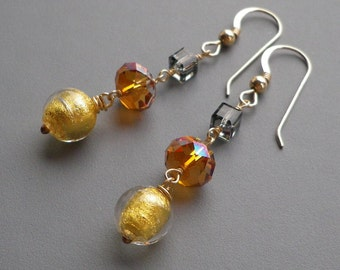 Crystal Murano Gold Dangle Earrings