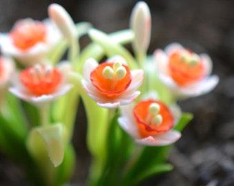 1 - Miniature Daffodil Flower Glass Terrarium Filler Hand Made Clay Plant Charm Scale 1:12 Terrarium Supplies Jewelry Supplies (AU115)