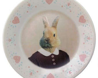 Bernice the Bunny, school portrait plate 6.75""