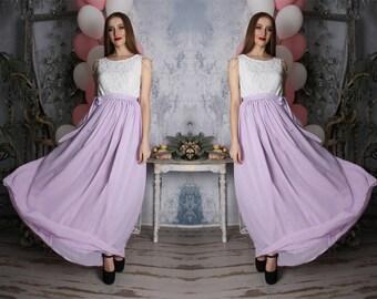 Mauve,lilac,white,formal dress,chiffon,lace,prom,full length,two tone dress,evening,bridesmaid,maxi,summer,bridal, wedding dress, sleeveless