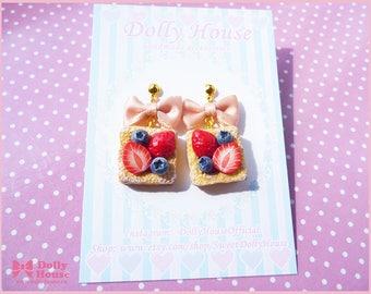 Miniature Food Jewelry - Food Earrings - Berry Cake  Earrings by Dolly House